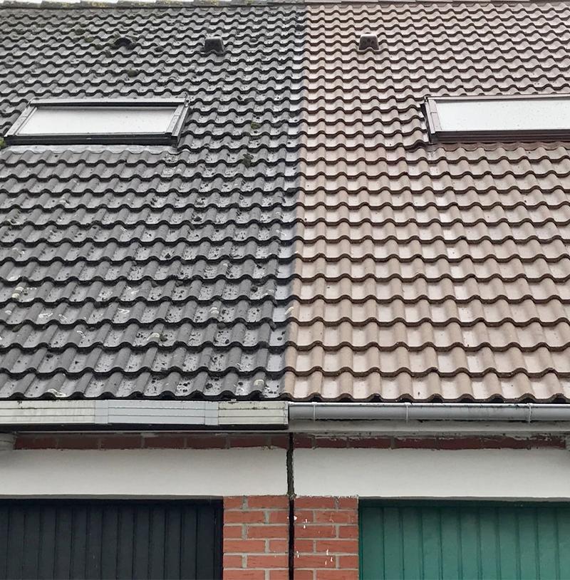 Comparaison d'un démoussage de toit effectué
